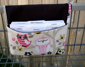 Fabric Coupon Organizer / Budget Organizer Holder - Attaches to Your Shopping Cart -  Owls on Branches Decor Fabric