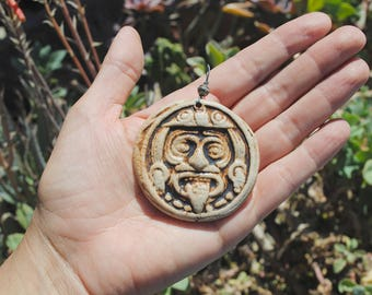 ceramic aztec pendant clay necklace mayan focal bead mexican jewelry