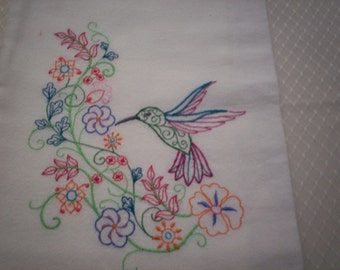 Hummingbird Flourish Embroidered Flour Sack Towel, Embroidered Hummingbird Towel, Hummingbird Towel