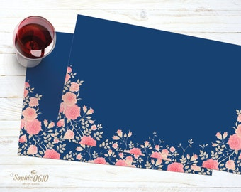 Printable navy blue and floral elements placemat, Instant downloadable wedding placemat, Special event decorative placemat, Instant download