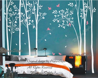 birch tree forest wall decal children baby boy girl nursery wall decal wall sticker Kids room decal decors wall mural  - Birds in the Forest