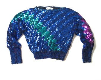 Vtg. Neiman Marcus Harry Acton Colorful Sequined Statement Top