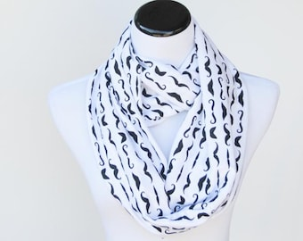 Black Mustache scarf Infinity scarf mustache white black circle scarf jersey knit loop scarf birthday gift idea for mom and  girl
