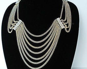 Gold Necklace Statement Jewelry Set Multi Strand Chain Necklace Wedding Jewelry Vintage Style Festoon Necklace Gold Jewelry Gift For Women