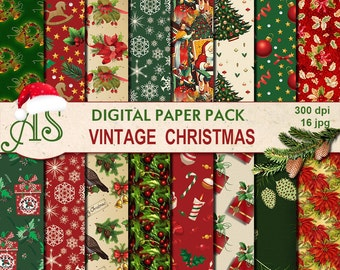 Digital Vintage Christmas Paper Pack, 16 printable Digital Scrapbooking papers, red green Digital Collage, Instant Download, set 237