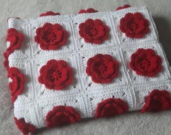 Crochet Flower Blanket, Baby Blanket, Crochet Blanket, Stroller Blanket, Car Seat Blanket, Baby girl blanket, flower blanket, new baby gift