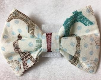 Custom Made Eiffle Towers Paris Dog Bow Tie, Dog Collar, Pet Bow Tie, Cat Bow Tie, Rabbit Bow Tie, Pig Bow Tie