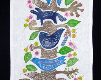 tree of life, wall hanging, ready to hang, linocut, bird, fish, fabric, textile art, blue and white, linen, embroidery, printmaking,
