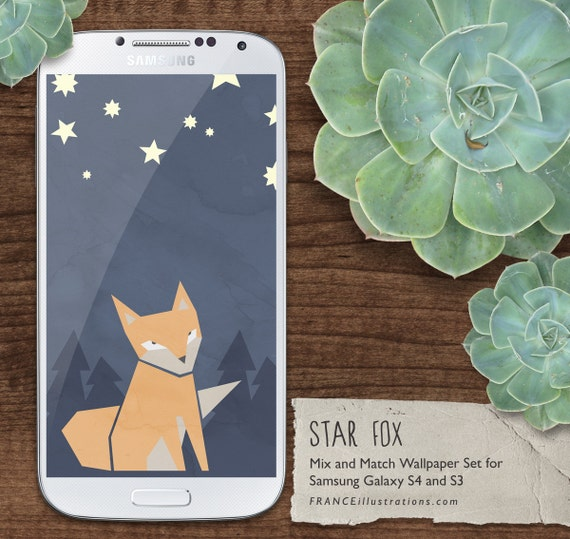 Items Similar To SALE Cute Fox Pattern Kawaii Background Wallpaper Stars In Navy Orange Yellow SAMSUNG GALAXY S4 S3 Instant Digital Download