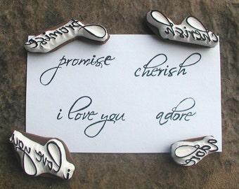Scripted Love sentiments stamp set no.1 -4 pc