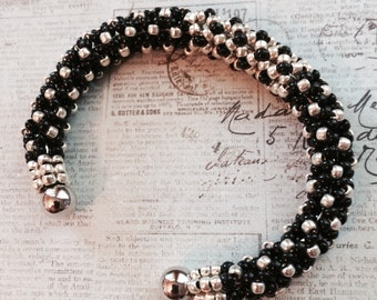 Black and Silver Beaded Bangle