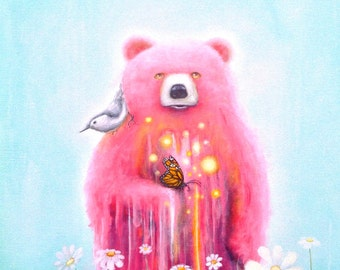 Bear Fine Art Print -  Pink Bear - Prints - Pop Surrealism -  Nature - Bird - Butterfly - Daisies -  Surreal - Psychedelic - Art