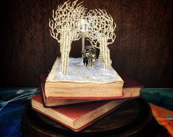 Narnia illuminated book sculpture