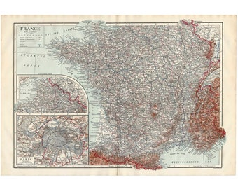 Map of brittany | Etsy