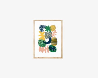 Screen printed abstract wall art, hand-made, limited edition