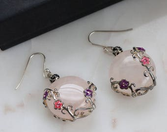 Rose Quartz Sterling Earrings - Dangle Silver Earrings
