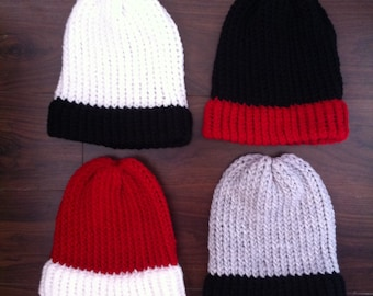 Two Tone Slouch Beanie Hats