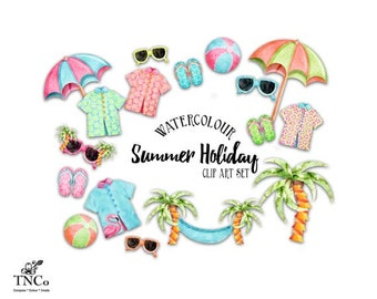 Beach clipart - watercolor beach clip art - Vacation clipart - Flip flop clip art - commercial use clip art - Clip art for planner stickers