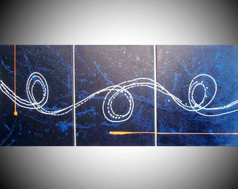 """extra large wall art triptych huge triptych hanging """"Big Blue"""" oversized art huge canvas art 3 panel three panel wall decor triptyque"""