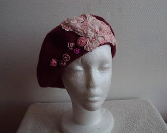 Personalized hot pink felt beret with pink and embroidered silk
