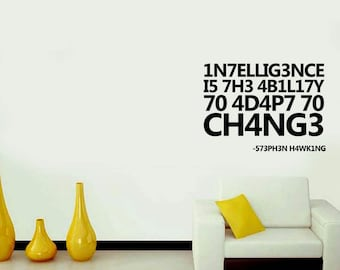 Intelligence Is..., Inspiration quotes, Wall Sticker, Interior Sticker, Window Sticker, Wall Decal, Wall Decor