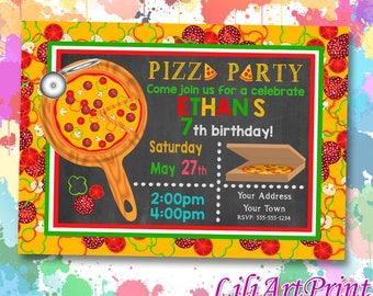 Pizza Party birthday invitation, pizza invite, pizza party birthday party, Digital file(12)