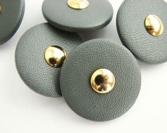 Leather imitation buttons with golden center, 5 Plastic shank buttons 28 mm, UNSUED!!