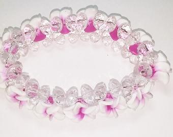 New Handmade Plumeria Whte Fuschia Flowers with White Crytals Bead Elastic  Bracelet