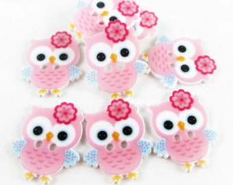 Set of 5 owls pink buttons