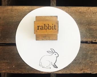 Vintage Wooden Rabbit Stamp / Bunny Stamp / Easter Stamp / Easter Decor / Farmhouse Decor / Vintage Printing Supplies