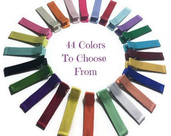 10 Satin Lined Alligator Clips, Alligator Hair Clips, No Slip Hair Clips, Partially, Fully Lined, Single, Double Prong, Ribbon Lined Clips