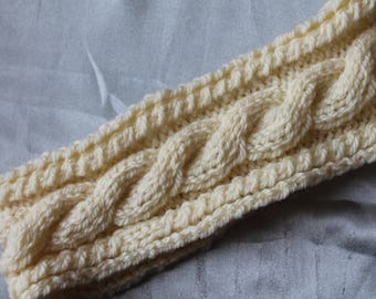 headband, circumference of head, ecru, twist, 52 cm hand knitted