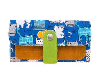 Woman Wallet, Vegan Wallet, Wallet For Women, Womens Clutch, Fabric Wallet, Clutch Wallet, Cute Wallet, Gift For Women, Cat Wallet, Purse