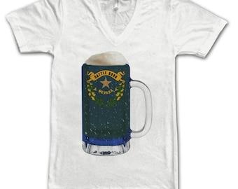 Ladies Nevada State Flag Beer Mug Tee, Home State Tee, State Pride, State Flag, Beer Tee, Beer T-Shirt, Beer Thinkers, Beer Lovers Tee