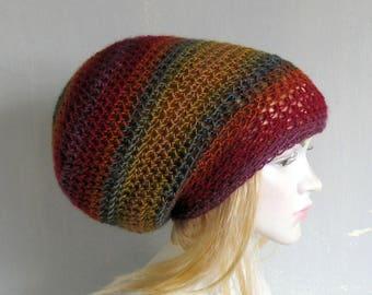 Crochet Tam Slouch Hat  Slouchy Tam Dread Hat Hipster Hat slouchy beanie  slacker beanie beret tam Dreadlocks