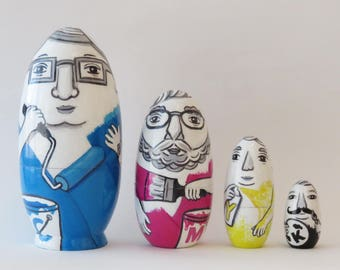 CMYK Painters nesting dolls (set of 4)
