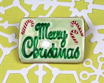 Christmas Brooch Handmade Porcelain Jewelry Merry Christmas Pin Holiday Wear