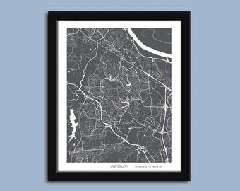 Ashburn map, Ashburn city map art, Ashburn wall art poster, Ashburn decorative map