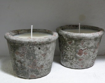 Soy Candle Concrete Pot  -  5 Ounce  Essential Oil Scented Soy Candles  -   Clementine And Clove Essential Oil   Fir Needle Essential Oil