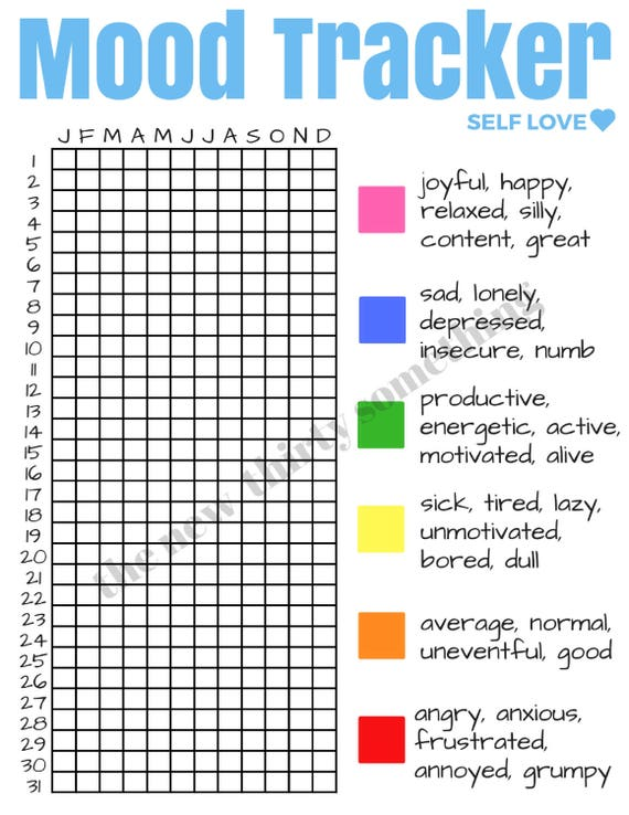 Mood tracker self love mental health downloadable print for Mood log template