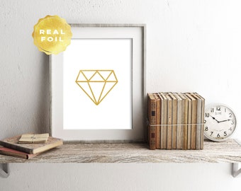 Real Gold Foil Diamond Art Print 4 x 6, 5 x 7, Silver Foil, Diamond Decor, Trendy, Geometric Diamond Silhouette, Print Series, Room Decor