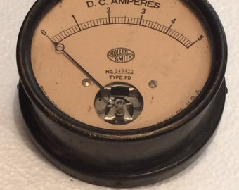Vintage Antique Steampunk Large Electrical Panel Meter Roller Smith