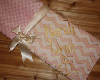 Wizard Blanket - Personalized Minky Baby Blanket - Pink, White and Gold Chevron