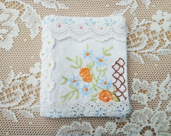 Needlebook made from Vintage Hand Embroidered Cotton and Broderie Anglaise with Monogram letter N / Mothers Day Gift