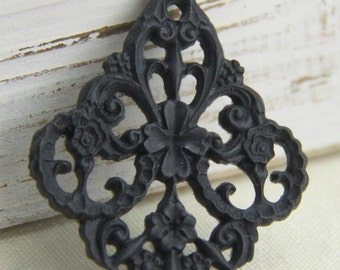 12 pcs of german filigree charm 0289-45x55mm-33-black