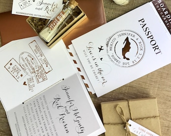 Modern Travel Theme Message in a bottle foiled Save the Date and Passport Wedding invitation suite