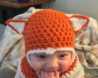 Fox infant hooded hat