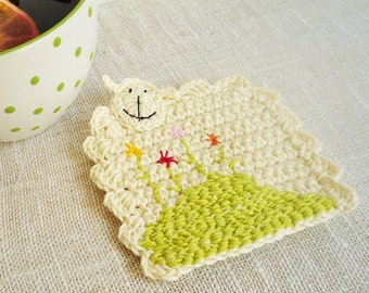 Crochet Sheep Coasters - Animal Coasters - Farmhouse Style - set of 2 - Gift for Her - For Mom