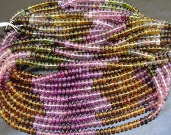 8 inch strand, 4mm,Very-Very-Finest-Quality MULTI TOURMALINE Smooth Rondells,Great Price,SUPERB