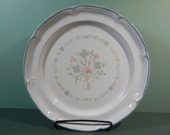 """12"""" Round Stoneware Platter Market Square TM Floral Bouquet Pattern Chop Plate French Blue Scalloped Border Edge Dinnerware Replacement Dish"""